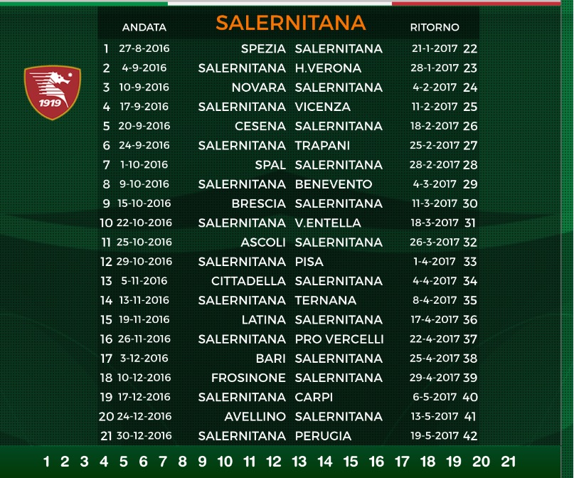 Calendario Salernitana.Ecco Il Calendario Della Salernitana 2016 2017
